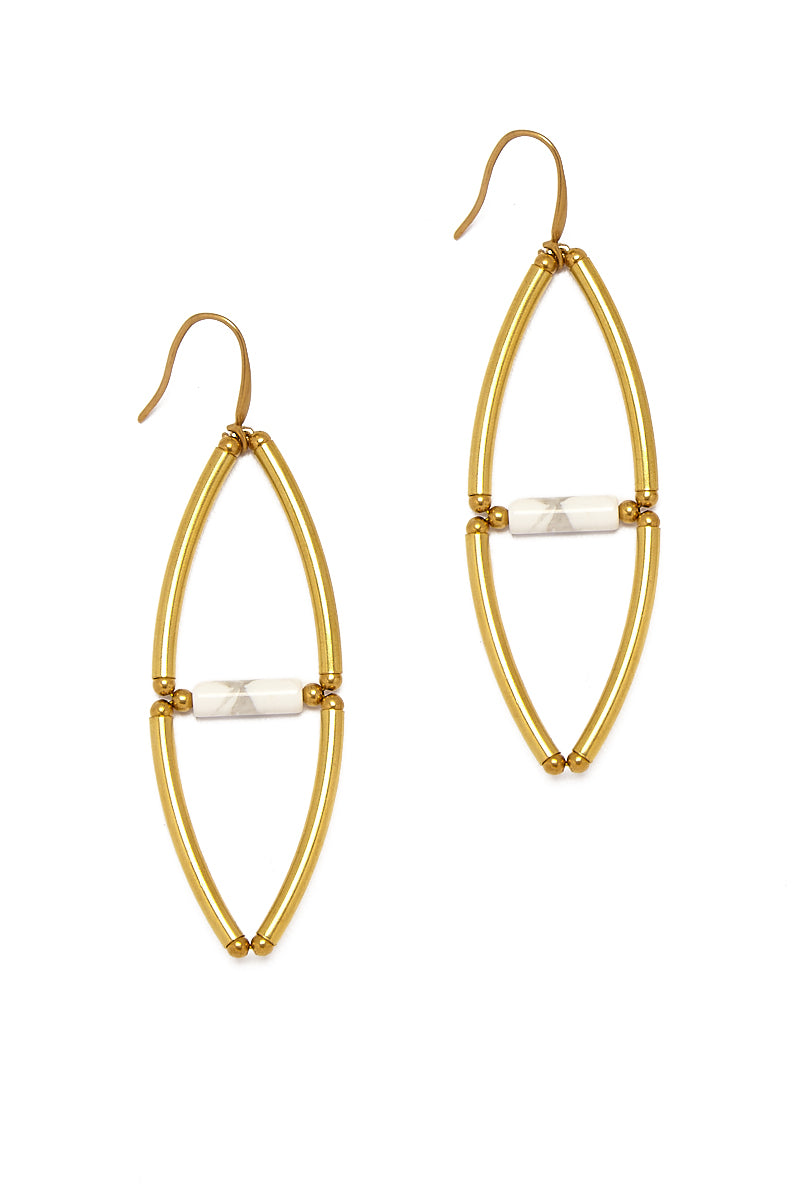 11 14 17 T Shirts and Bags Product0016 3 Oval Raw Brass Earrings 8211 White Agate