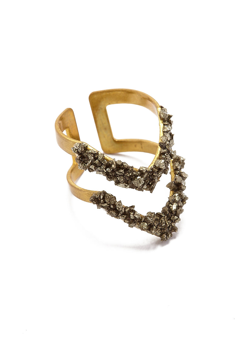 Pyrite Double V Ring