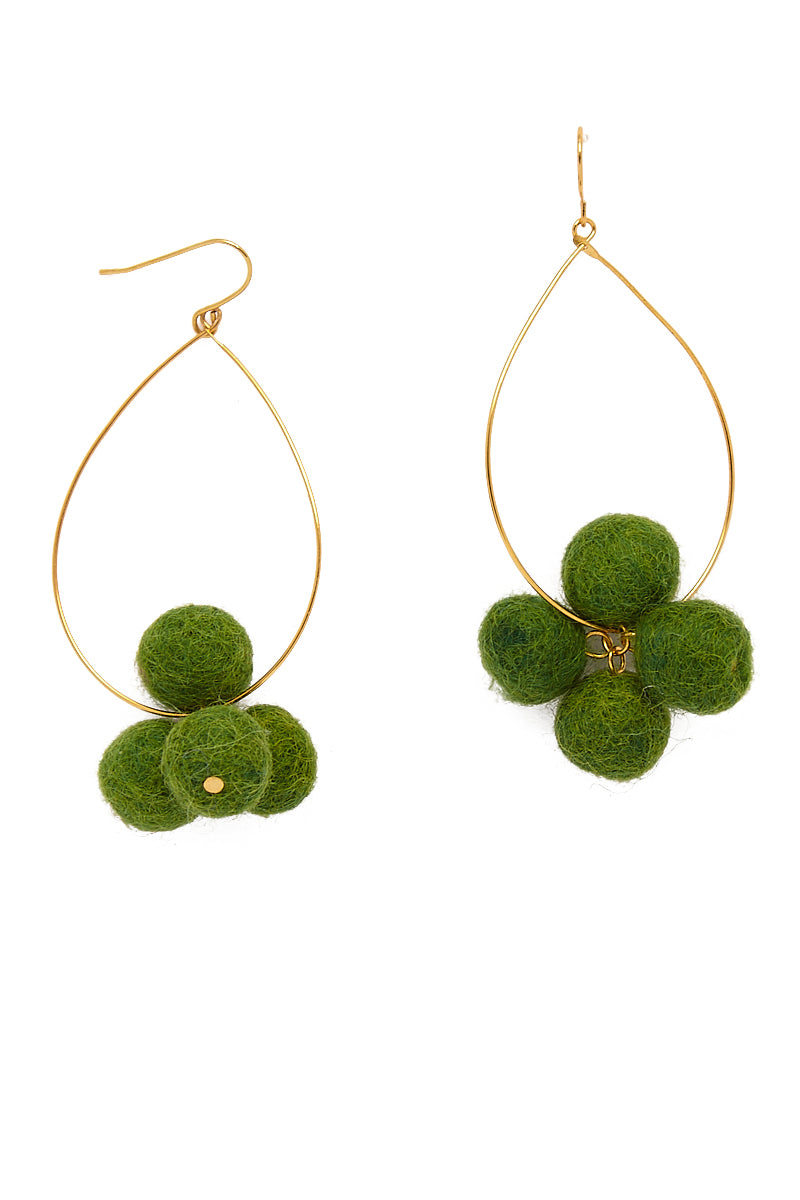 Oval Hoop Pom Pom Earrings - Moss Green
