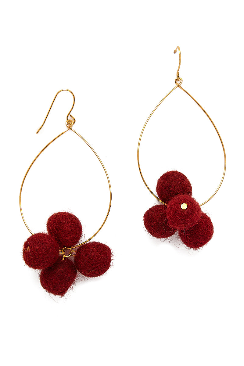 Oval Hoop Pom Pom Earrings - Sangria Red