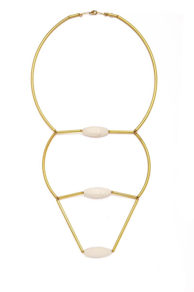 Long Raw Brass Necklace - White Agate