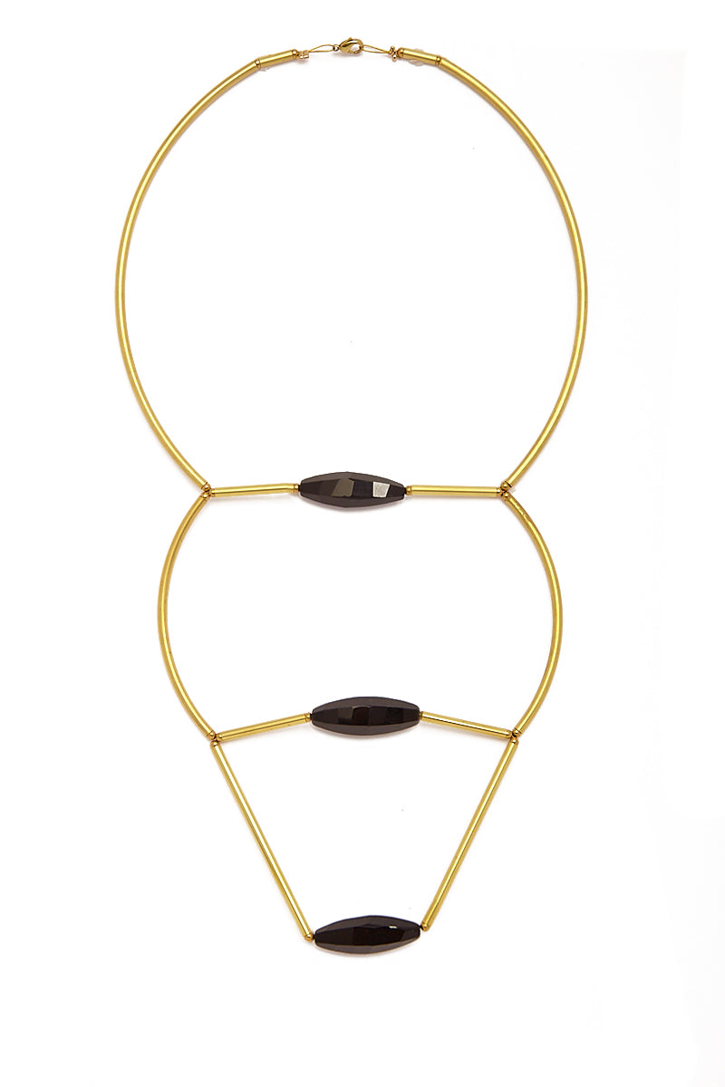 Long Raw Brass Necklace - Black Agate