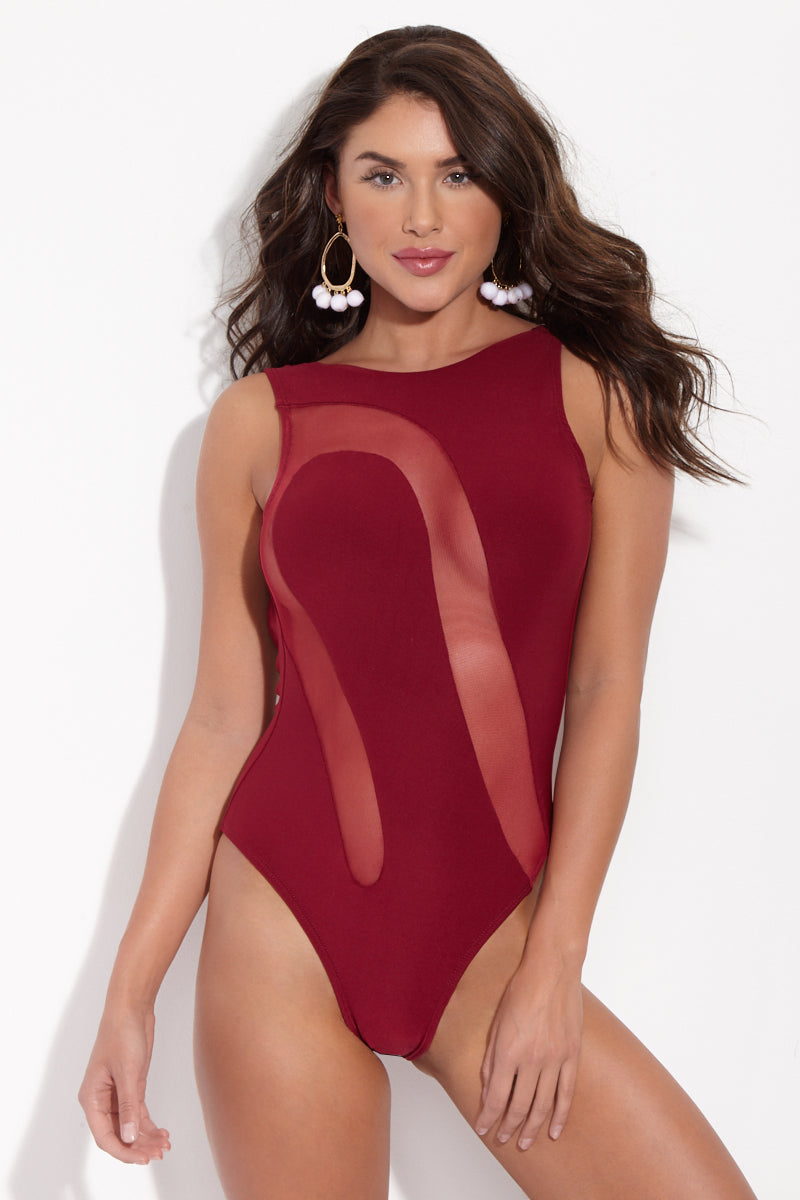 Cairina Mesh Cut-Out High-Neck One Piece Swimsuit - Scarlet Red