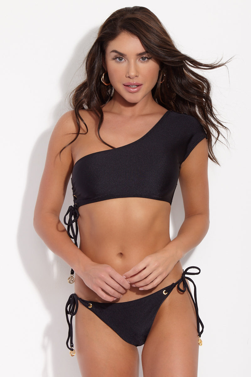 One Shoulder Lace Up Bikini Top - Black