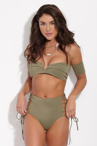 SKYE & STAGHORN Off the Shoulder Wrap Top - Moss Green Bikini Top | Moss Green|Skye & Staghorn Off the Shoulder Wrap Top Front View Bandeau style bikini top in moss green with off the shoulder sleeves and a v-shaped wire detail at the front.