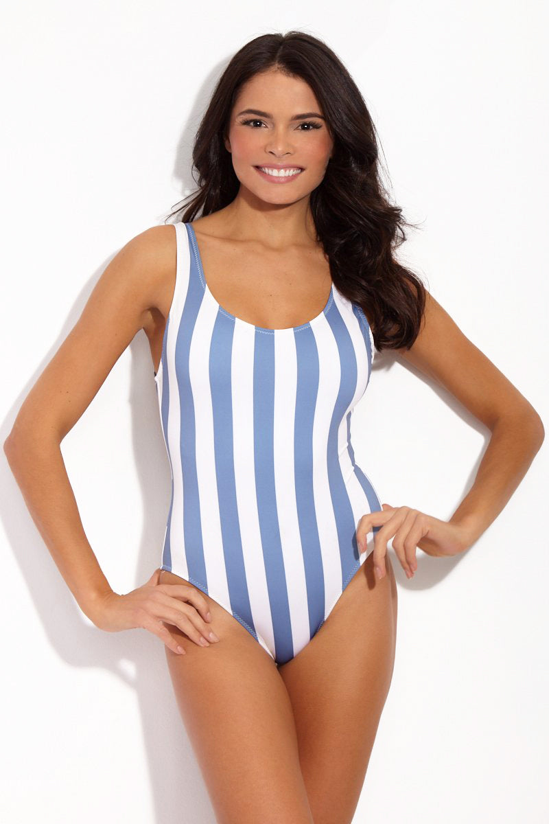 The Anne-Marie Classic One Piece Swimsuit - Ice Stripe