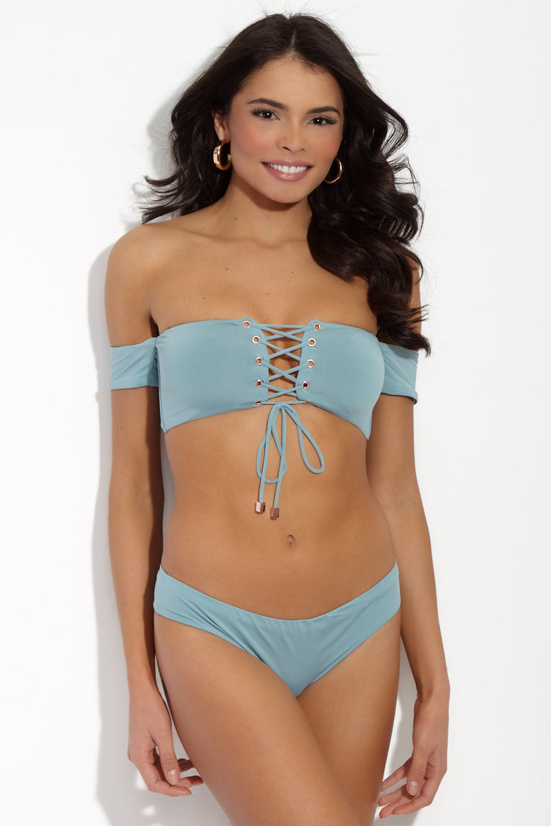 Adilette Off The Shoulder Bandeau Bikini Top - Aqua Sphere
