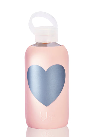 BKR Silver Tutu Heart Bottle -1L Accessories | Pink| BKR Silver Tutu Heart Bottle -1L Large Reusable Glass Water Bottle Solid Ballet Pink Silicone Sleeve Large Metallic Silver Heart Small Opening No-Leak Cap 100% Recycable BPA-Free Glass Dishwasher Safe Store With Cap Off Do Not Freeze or Microwave