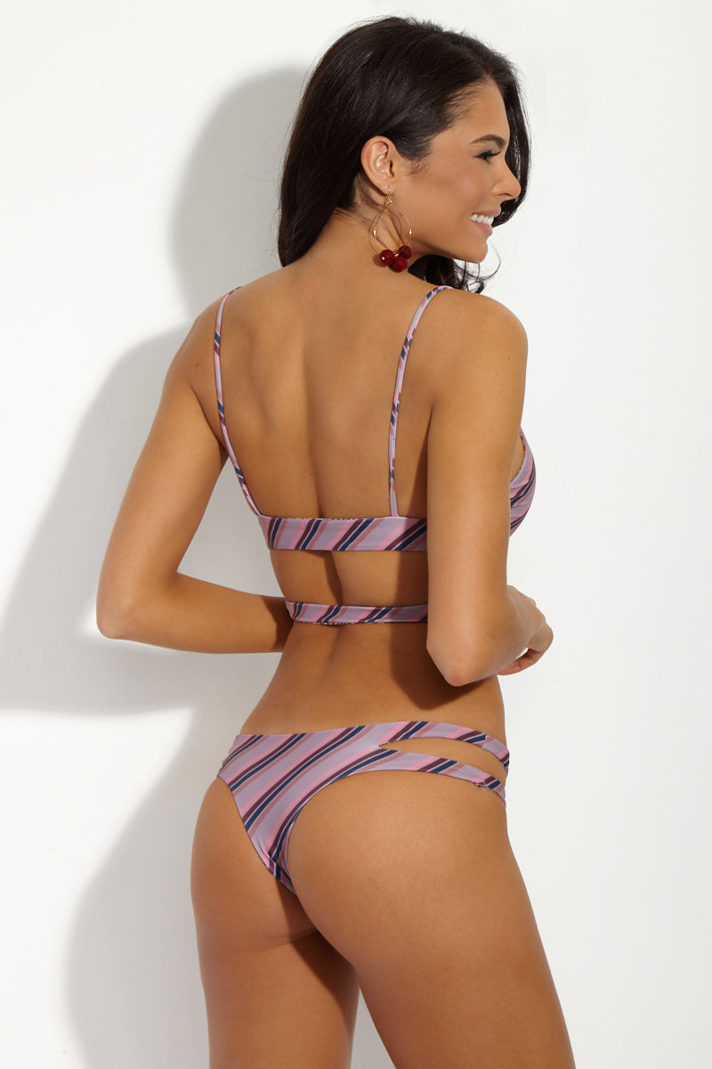 Baldwin Low Rise Bikini Bottom - That 70's Striped Pink/Purple Print