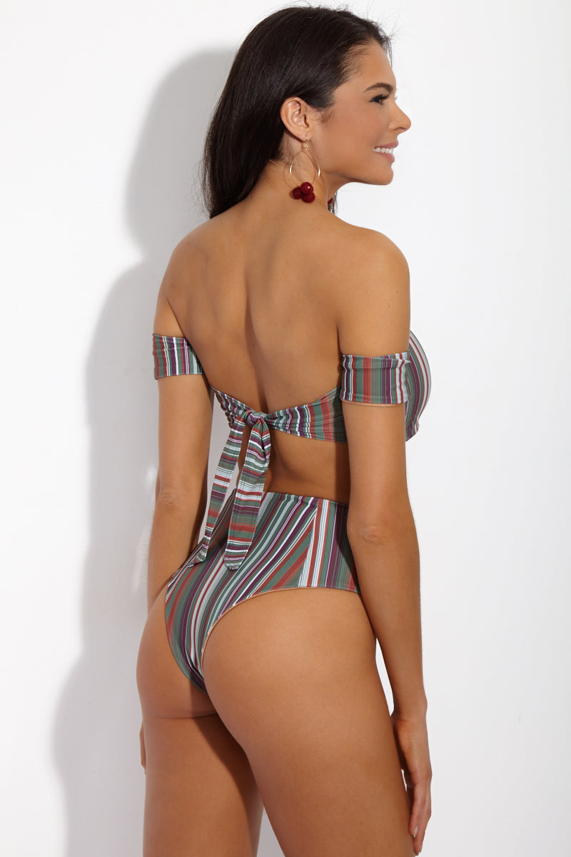 SIE SWIM Chloe Off the Shoulder Bandeau Bikini Top - Stripe Print Bikini Top | Stripe Print| SIE SWIM Chloe Off the Shoulder Bandeau Bikini Top - Stripe Print. Back View. Bandeau-style bikini top with off-the-shoulder bardot sleeves. Cool Toned vertical stripe print is fully lined in luxe rose gold. Adjustable thick tie closure at back keeps you supported and secure all day.