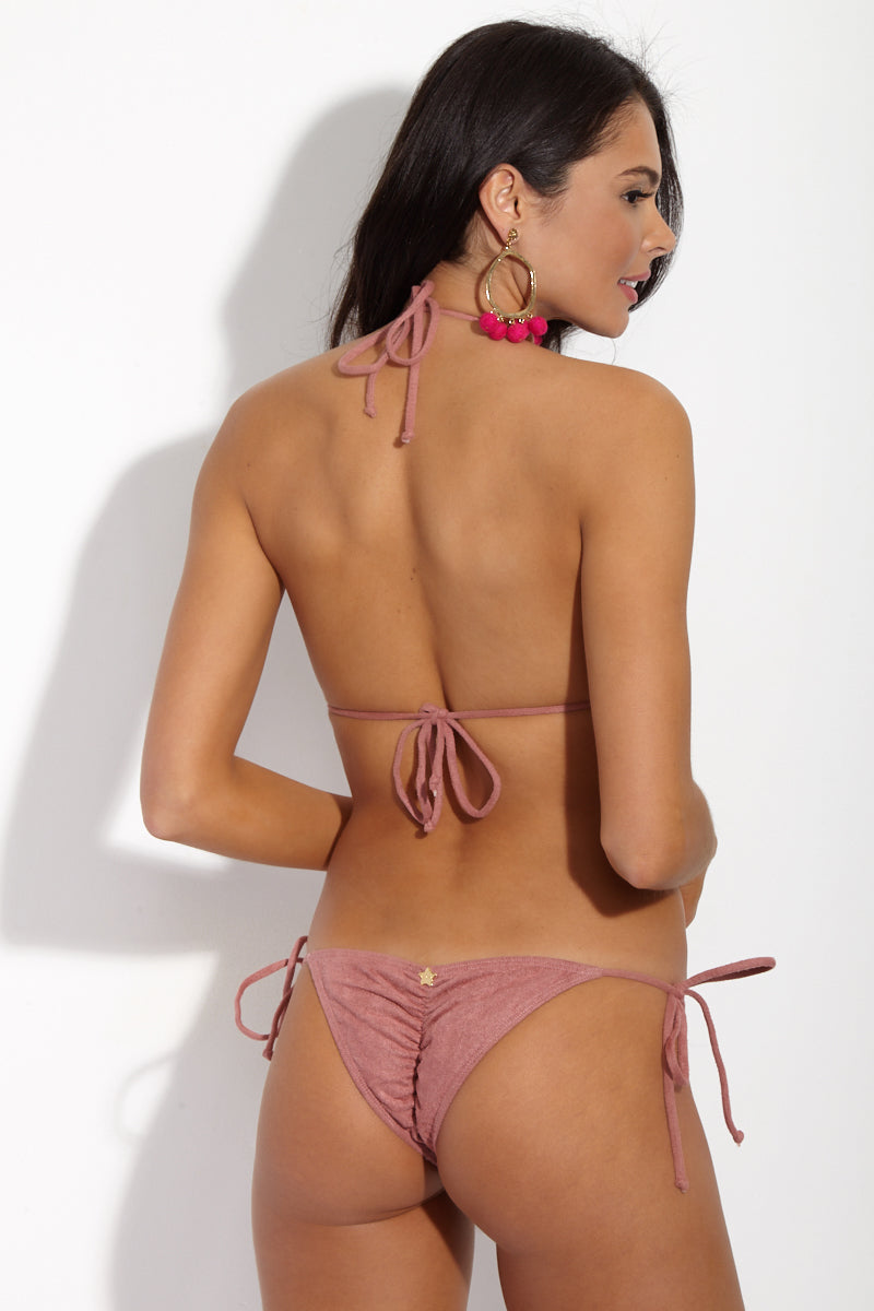 DEMAR SWIMWEAR Contrast Stitch Suede Top - French Pink Bikini Top | French Pink| Demar Swimwear Contrast Stitch Suede Top - French Pink Back View  Triangle Top Halter Ties At Neck Ties At Center Back Soft Suede Fabric Stitched Edge Trim Gold Hardware