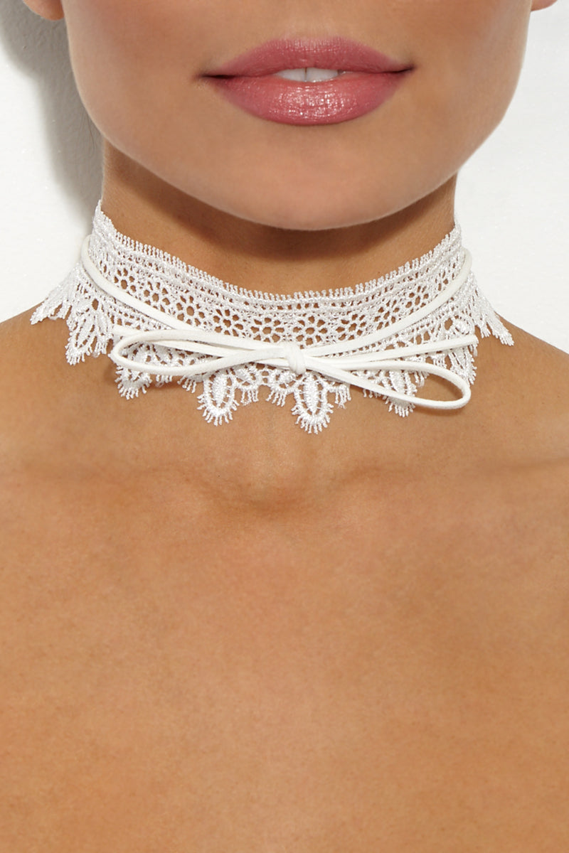 JEWEL CULT White Wide Lace Bow Tie Choker Accessories | White Lace| Jewel Cult White Wide Lace Bow Tie Choker