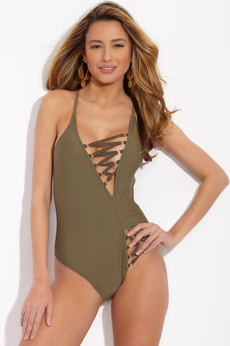 Malorie Lace Up Criss Cross Back One Piece Swimsuit - Olive Green