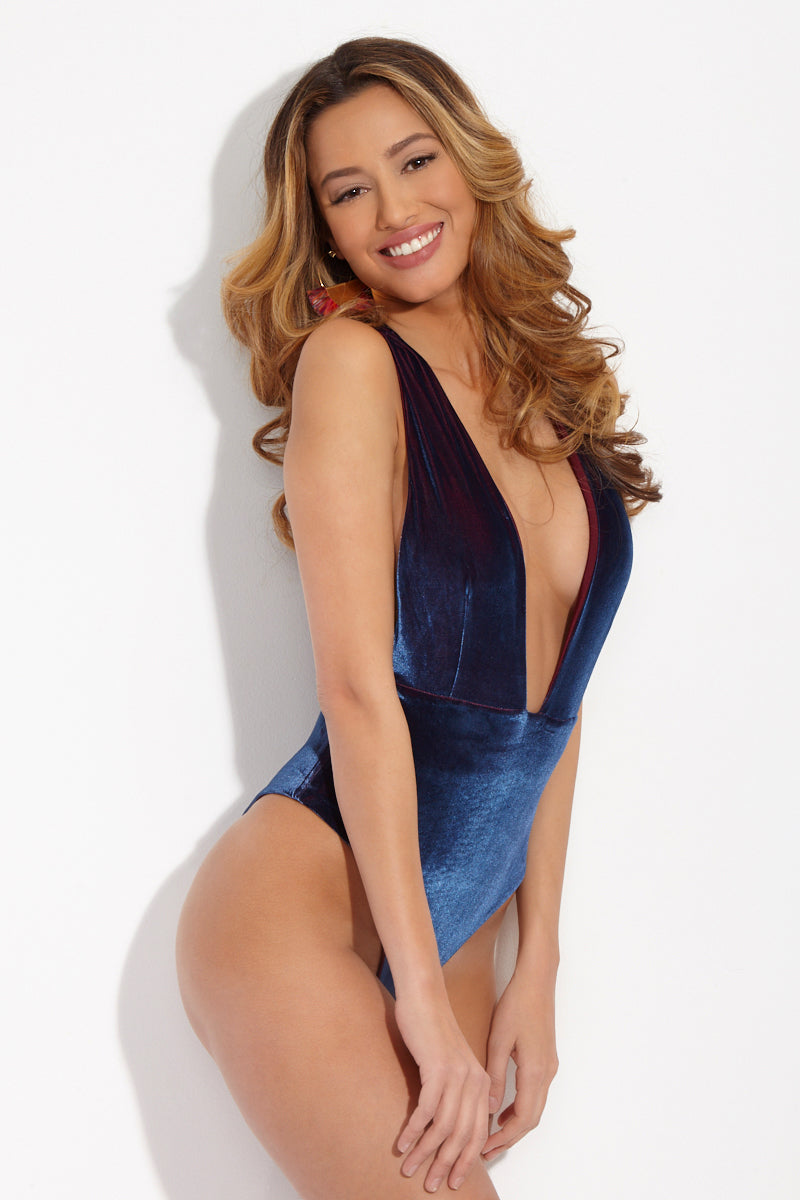 Dream Plunging Neckline One Piece Swimsuit - Blue Velvet