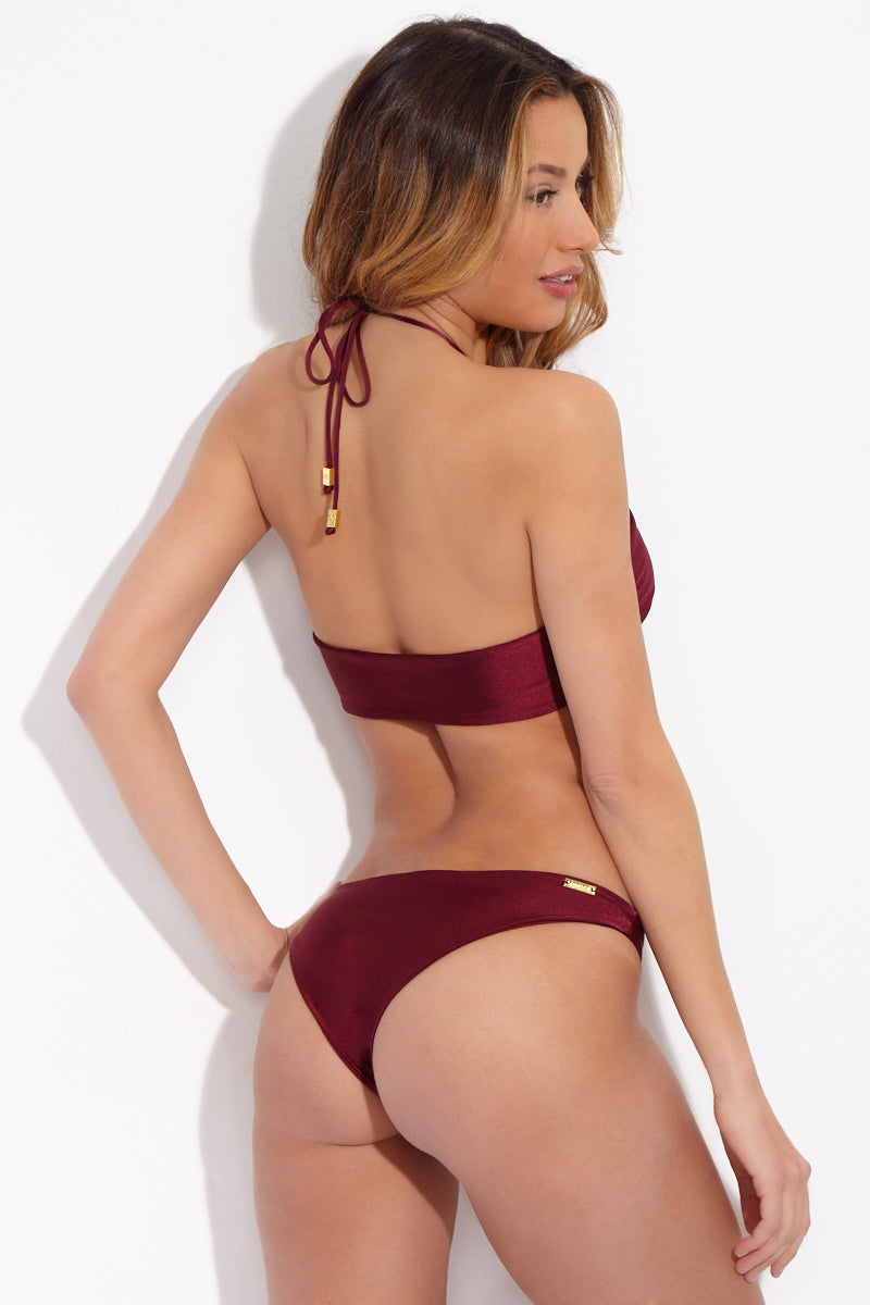 Ola Low Rise Cheeky  Bikini Bottom - Burgundy Red