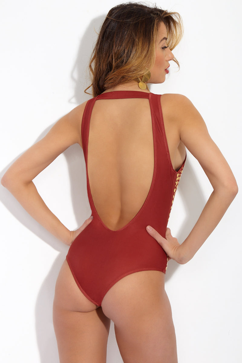 BEACH RIOT Davis Deep V One Piece - Fiery Sienna One Piece | Fiery Sienna | Beach Riot Davis One Piece