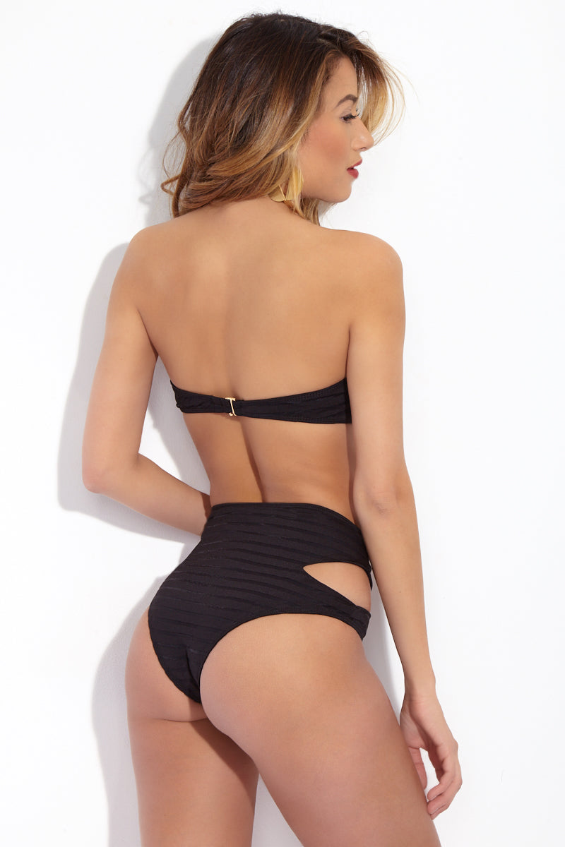 BEACH RIOT Whitney Classic High Waisted Bikini Bottom - Black Mesh Bikini Bottom | Black Mesh| Beach Riot Classic High Waisted Whitney Bottom - Black MeshBlack high-waisted bikini bottom. Mesh striped textured fabric. Side cut outs. Cheeky coverage.