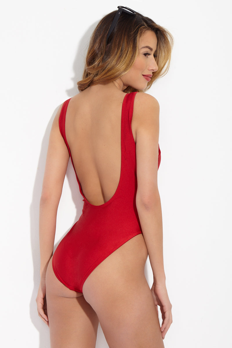PRIVATE PARTY Bae Watch One Piece One Piece | Red and White| private party bae watch