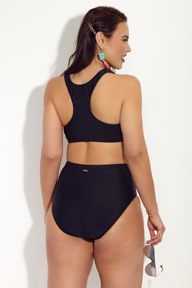 Black St Vincent High Waisted Bikini Bottom (Curves) - Black Magic