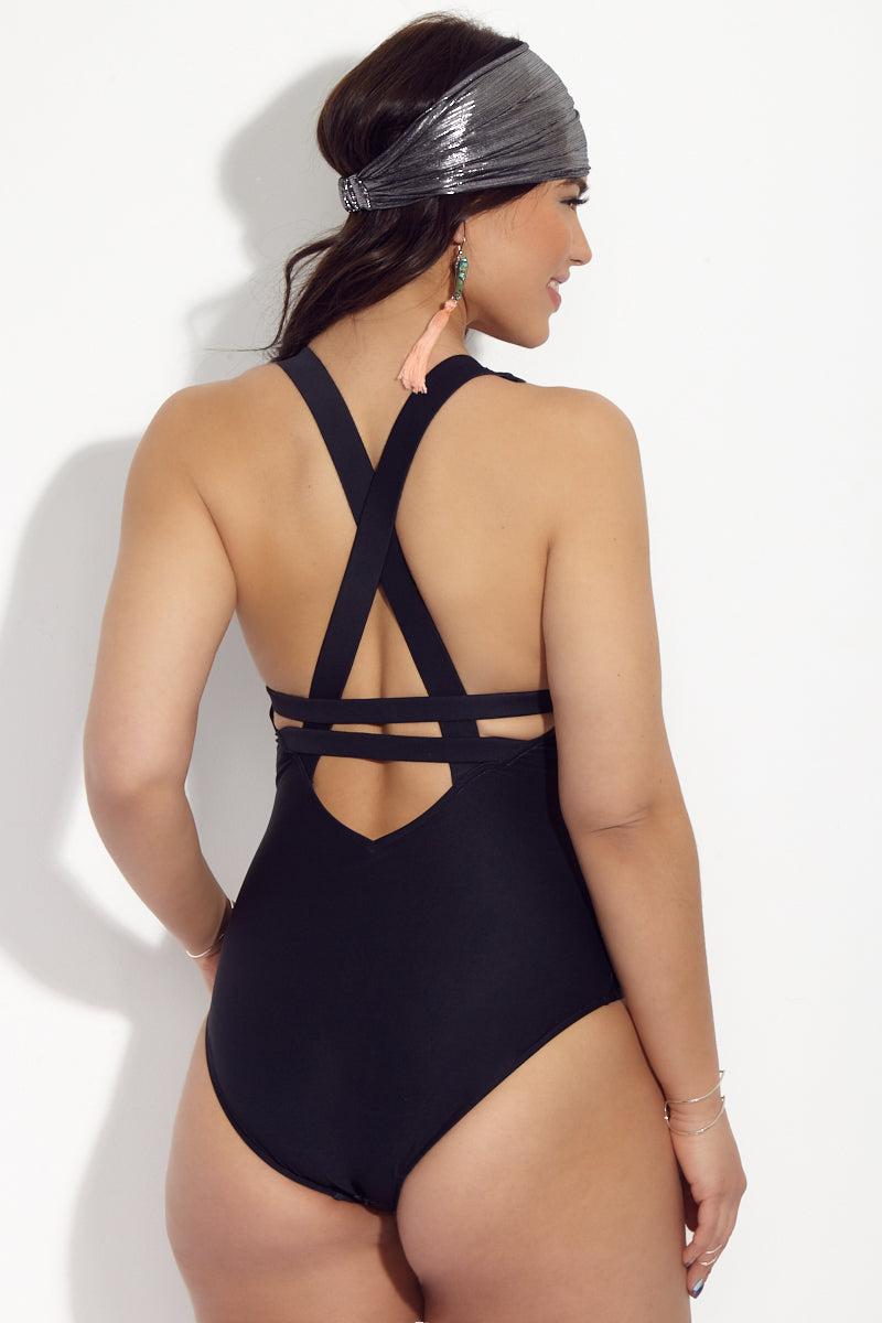 ROBYN LAWLEY Love Me Forever Multifit One Piece Swimsuit (Curves) - Placement Print One Piece   Placement Print  Robyn Lawley Love Me Forever Multifit One Piece Swimsuit (Curves) - Placement Print. Features: Black plus size one piece with large gray and white placement print. Deer skull and feather print is perfect for burning man and adventure travel. Scoop neckline to show off decolletage. Fixed, soft multi fit cups with support underbust elastic.