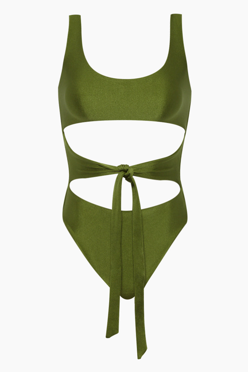 Bond Wrap Cut Out One Piece Swimsuit - Eden Green