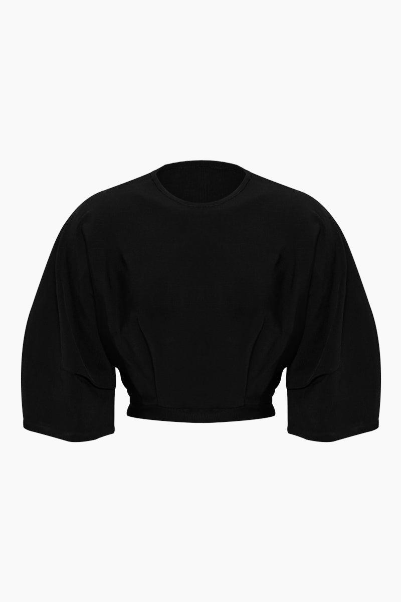 Inner Pleated Knit Top - Black