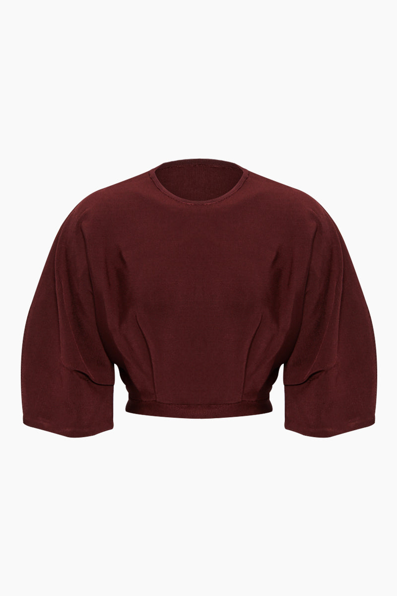Inner Pleated Knit Top - Garnet Red
