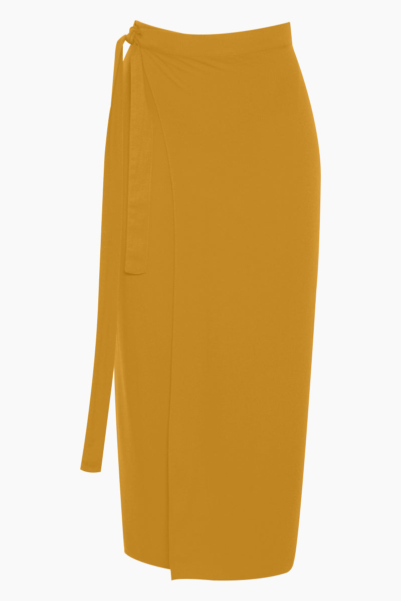 Mid Sarong Skirt - Mustard Yellow