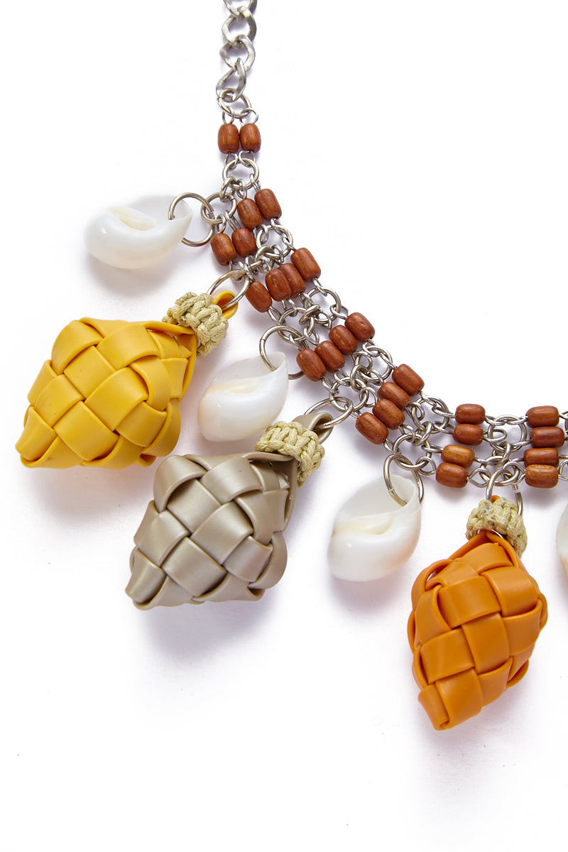 KATE CHAN Bella Puso Necklace Jewelry | MULTI| Kate Chan Bella Puso Necklace with hand-woven diamond pendants, white seashells, and brown wooden beads