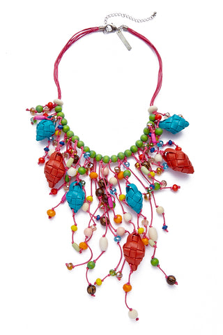 KATE CHAN Calypso Puso Necklace Jewelry | Multicolor Rainbow| Kate Chan Calypso Puso Necklace with hand-woven diamond pendants and rainbow string beads