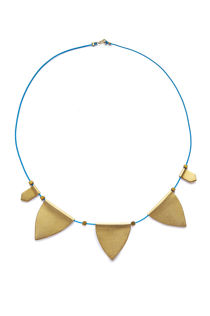 String Charm Choker Necklace - Blue/Gold