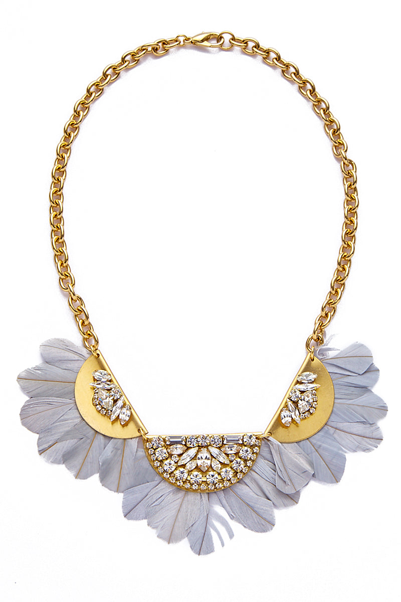 Feather Bib Necklace - Gold Brass