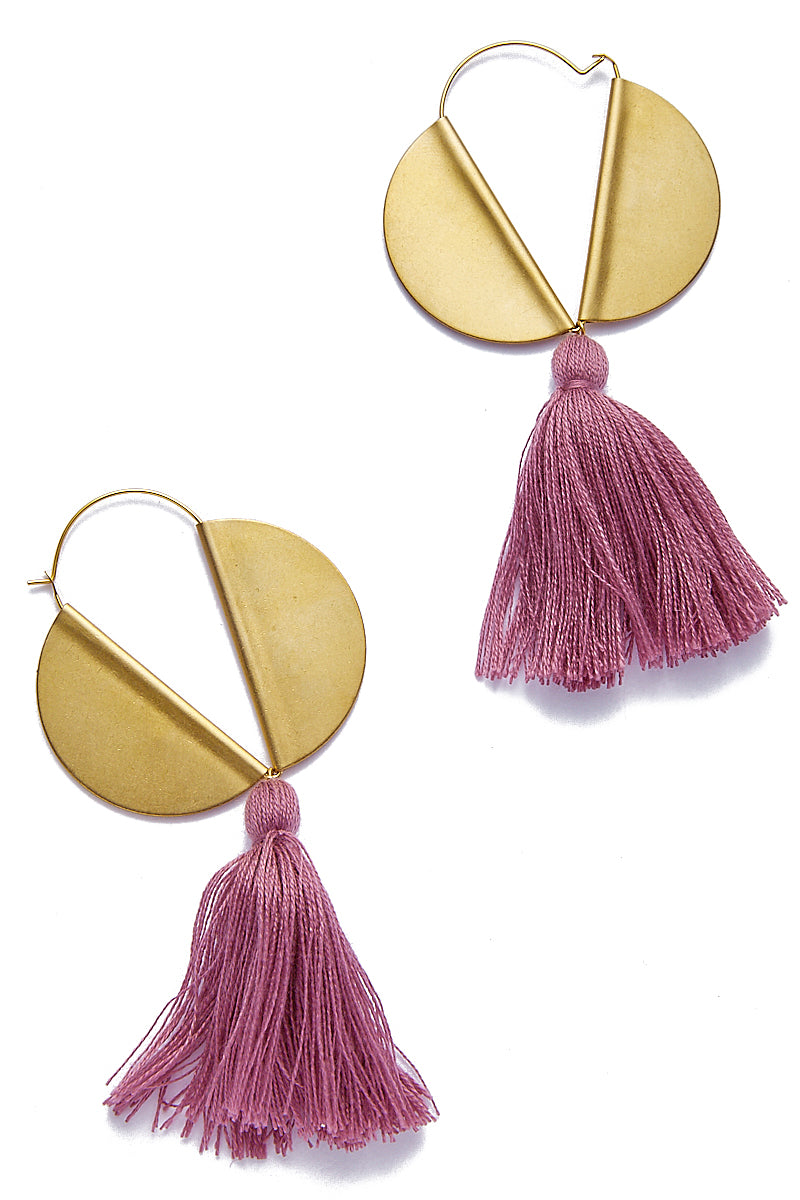Winged Hoop Earrings - Plum Tassel