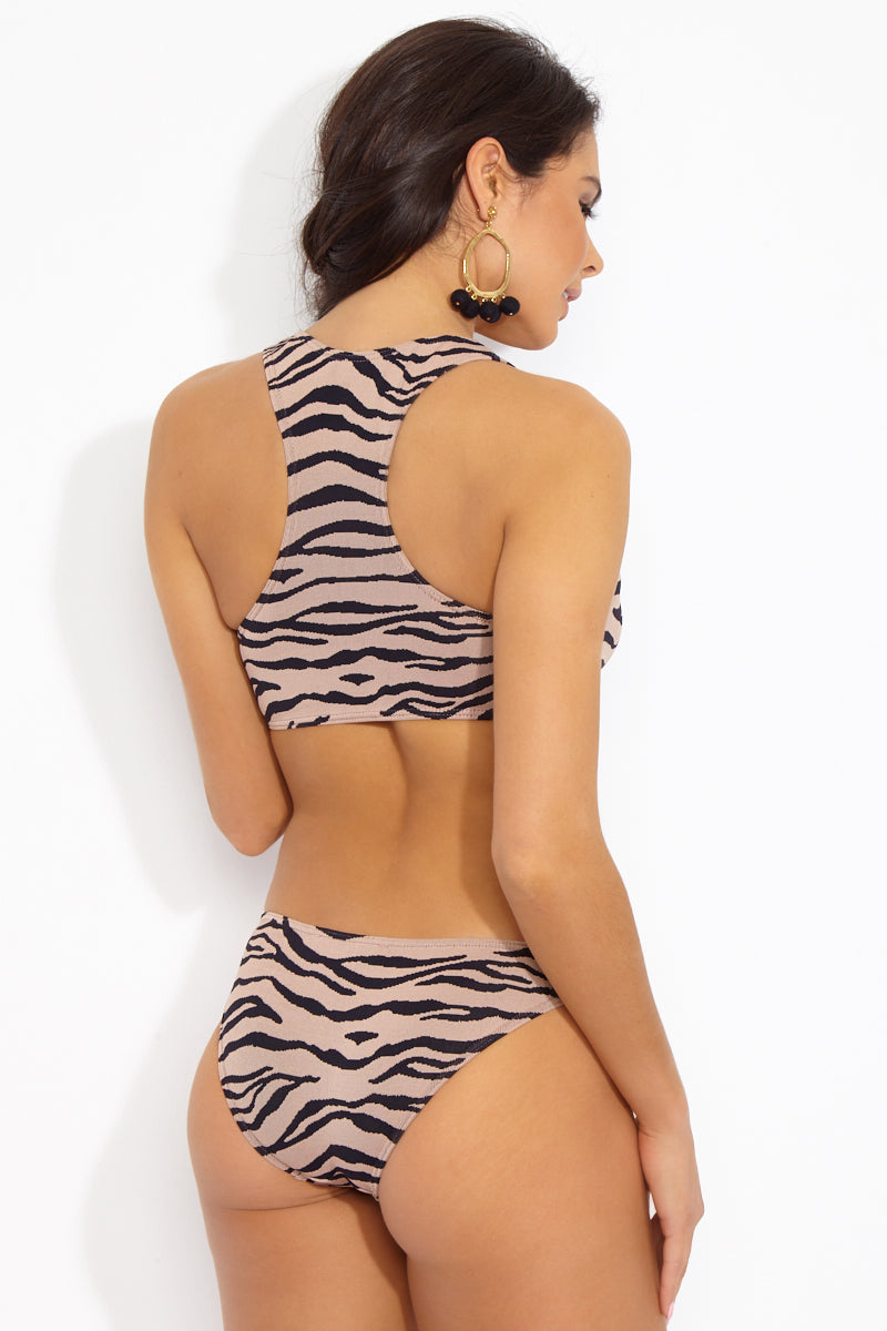 PRISM Punta Bottom - Tiger Print Bikini Bottom | Tiger Print| Prism Punta Bikini Bottom Back View Full Coverage Low Rise