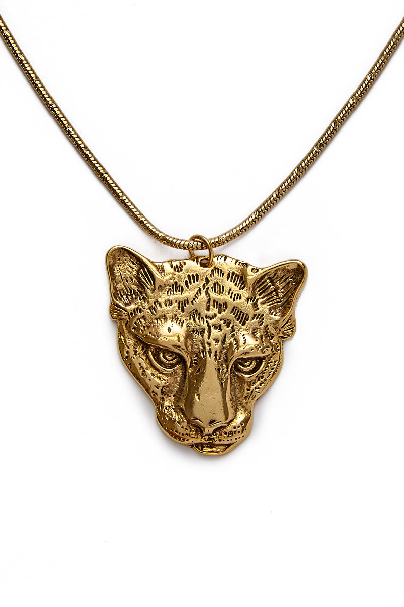 "VANESSA MOONEY The Jaguar Necklace Jewelry | Gold| Vanessa Mooney The Jaguar Necklace 24K Gold Plated Brass Chain Necklace With 14K Gold Plated Pewter Jaguar Emblem 18.5"" Length"