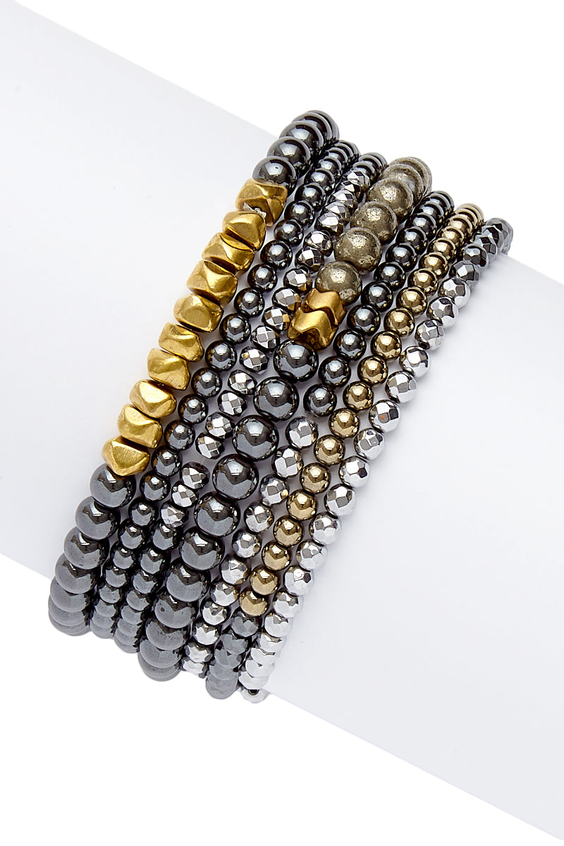 Metallic Stretchy Bracelet Set - Hematite