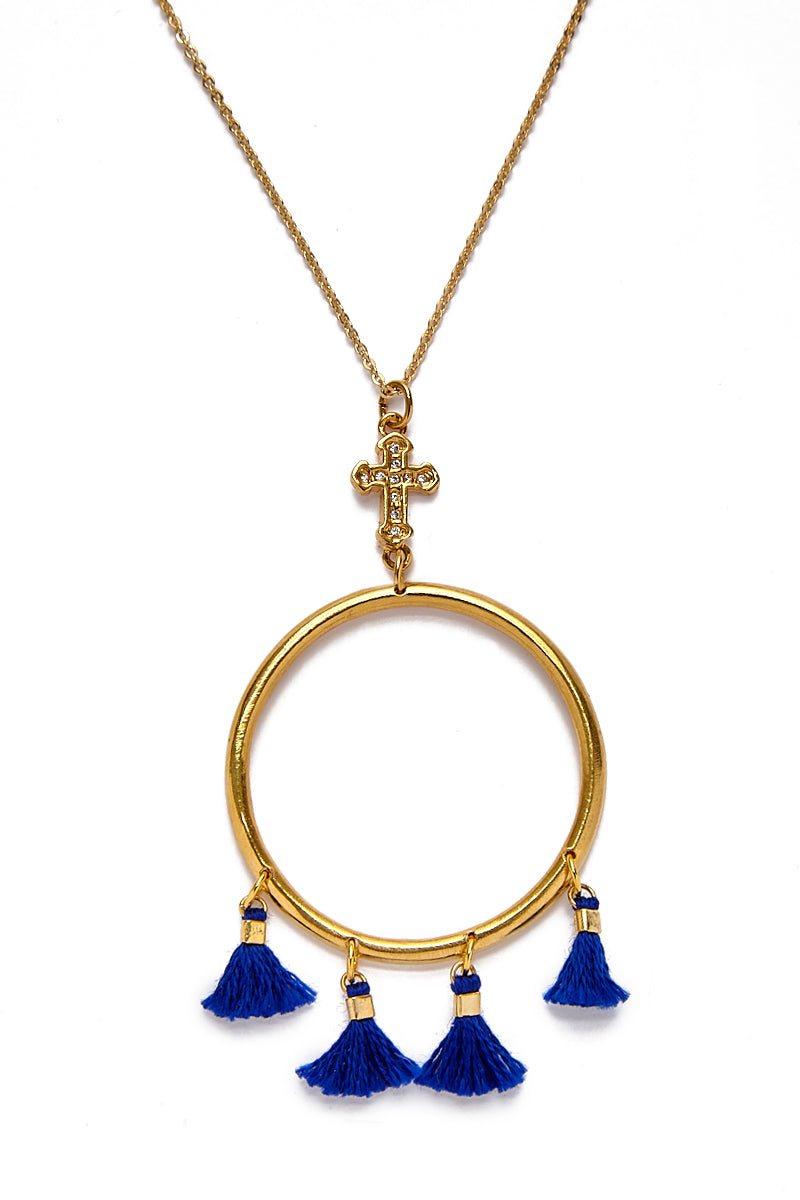 The Demi Tassel & Cross Hoop Necklace