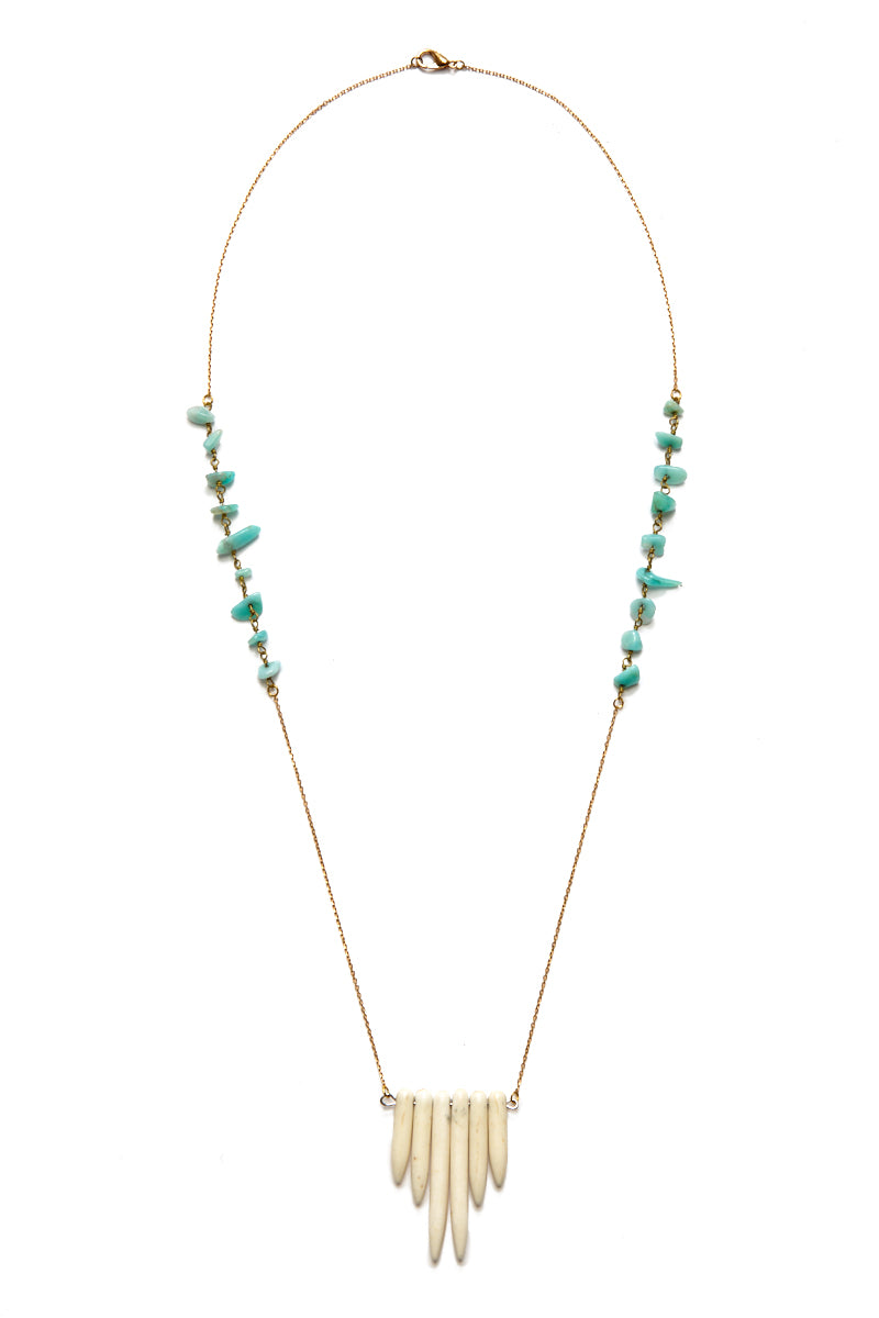 Amazonite Bone Spike Necklace - Gold