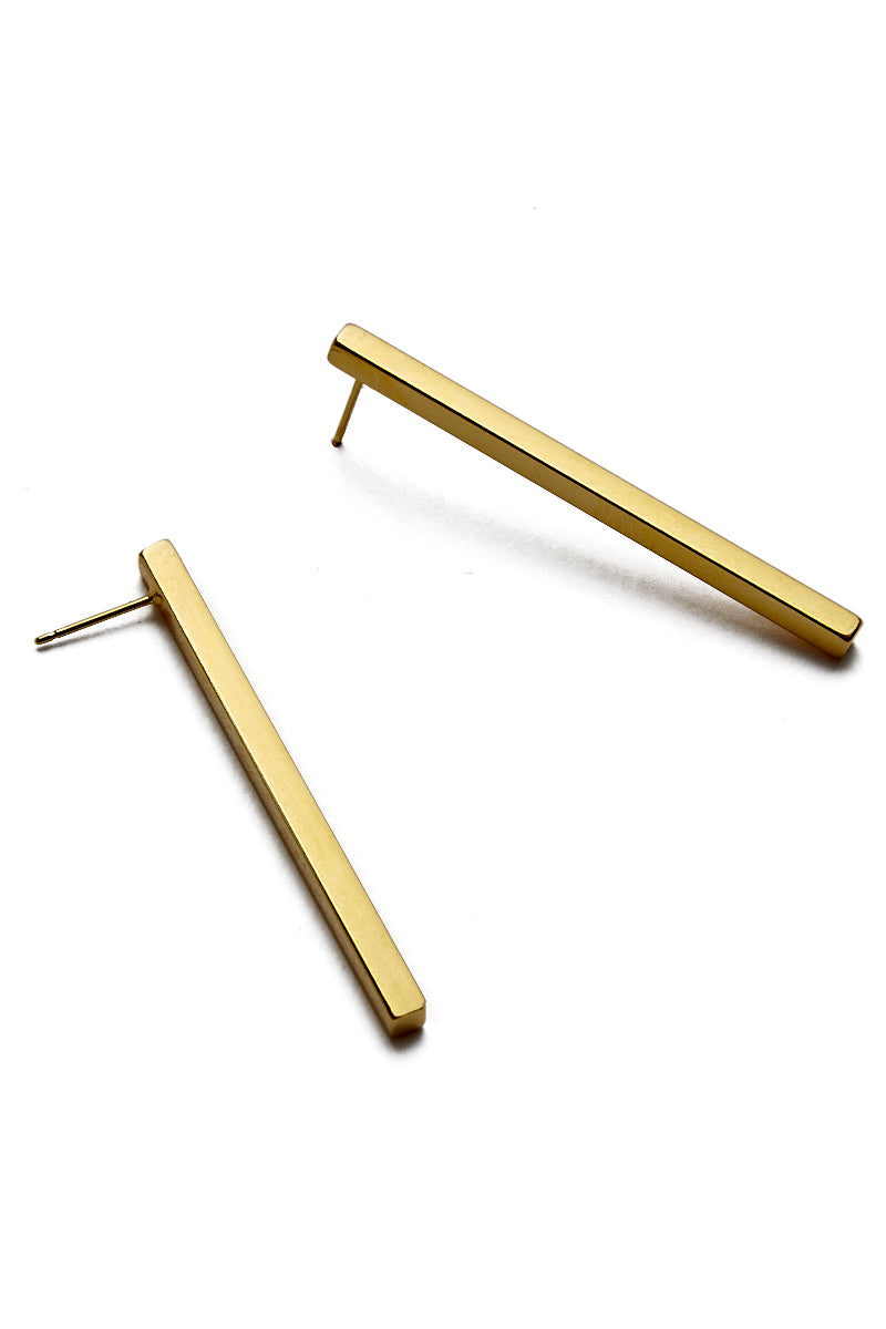 Gold Large Stick Earrings