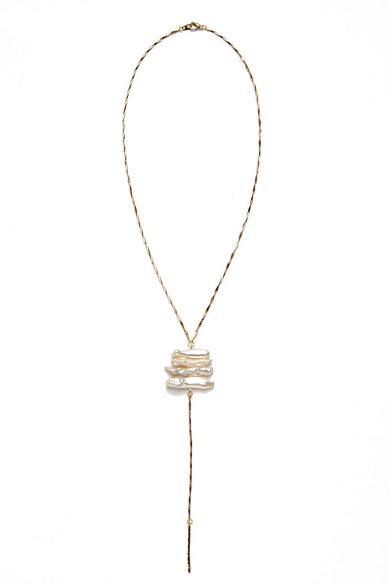 Pearl Stick Lariat Necklace