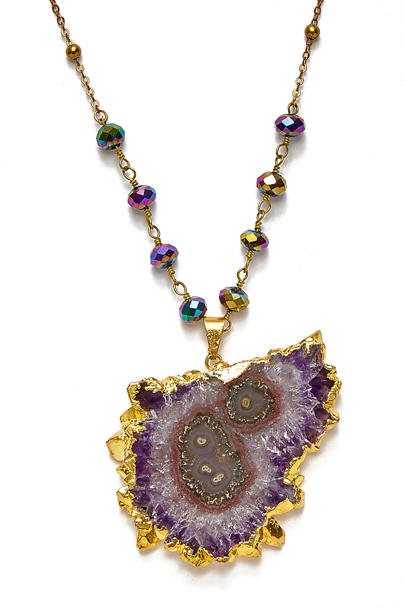 Amethyst Stalactite Necklace - Rainbow Pyrite Chain