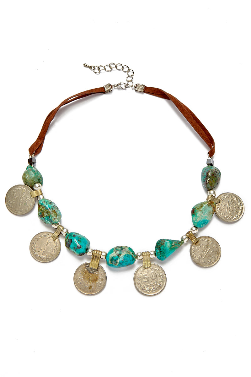 Turquoise Tribal Coin Choker