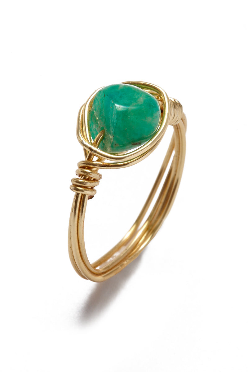 Wire Wrapped Stone Rings - Chrysoprase