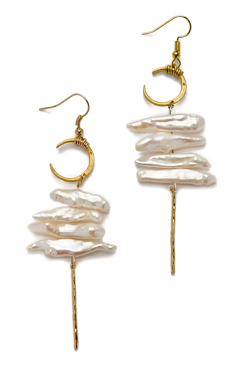 Crescent Pearl Earrings - Gold