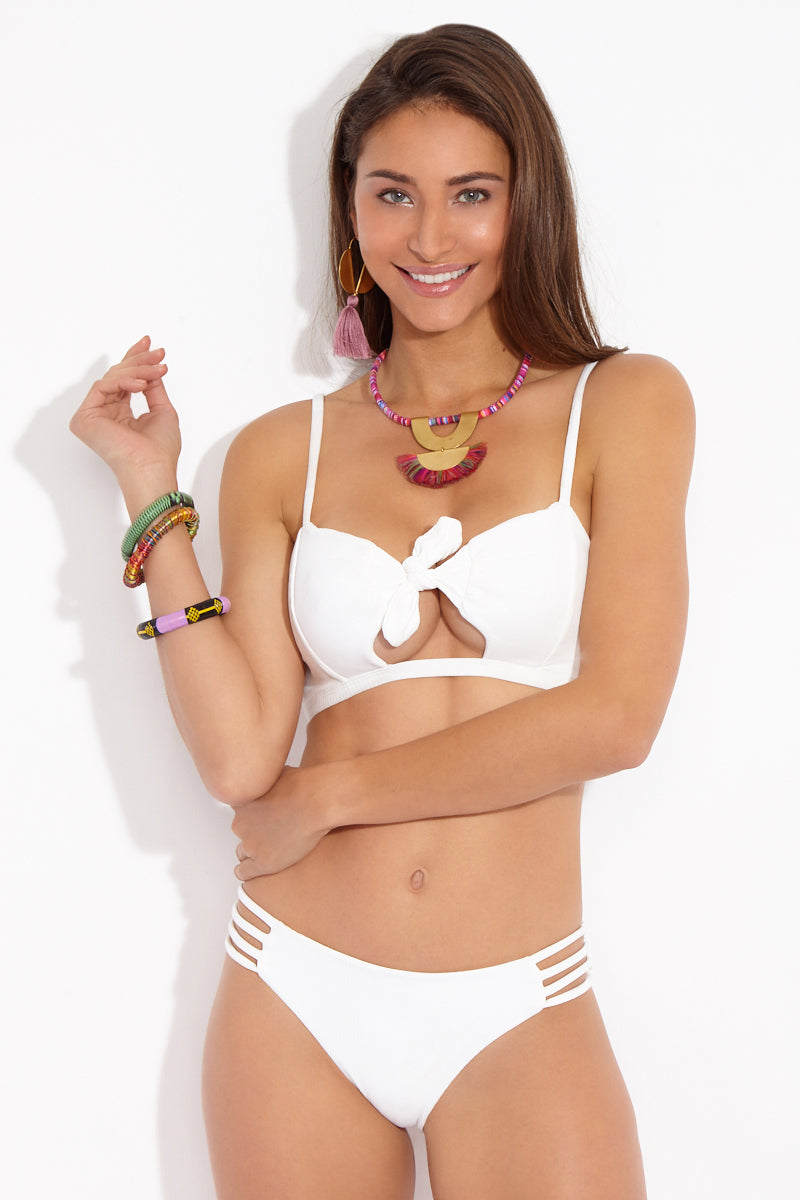 Greyson Ribbed Front Knot Cut Out Bikini Top - White