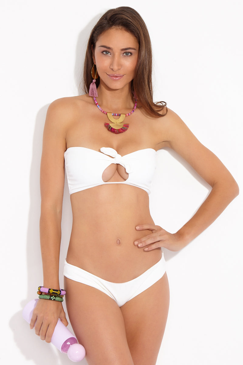 Lauryn Ribbed Front Knot Cut Out Bandeau Bikini Top - White
