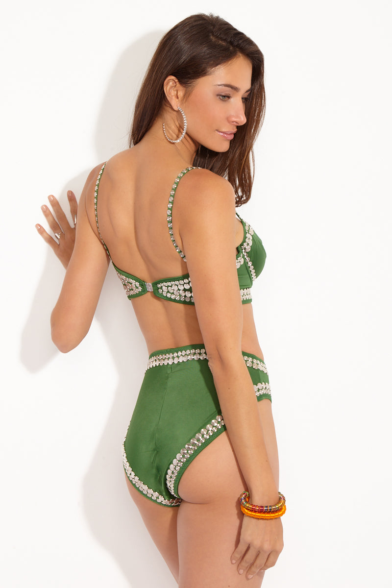 Stud High Waist Bikini Bottom - Greenery