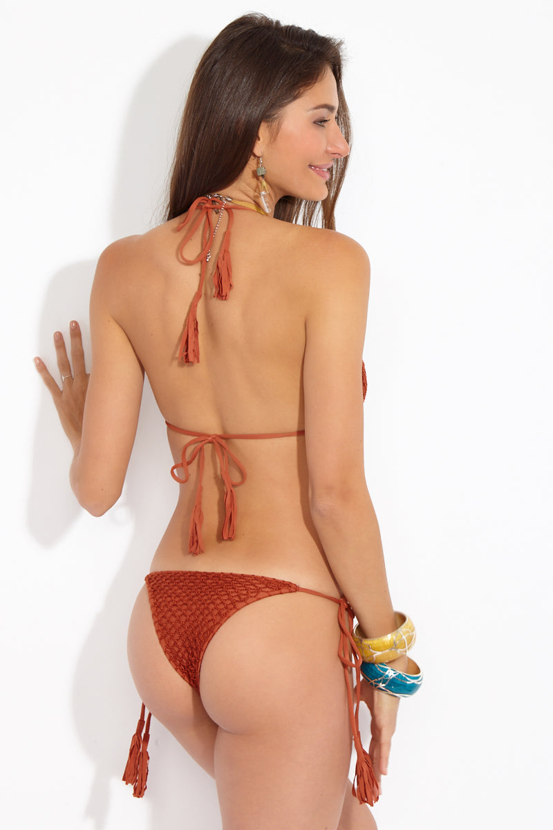 Polihale Crochet Tie Side Bikini Bottom - Mai Tai Burnt Orange
