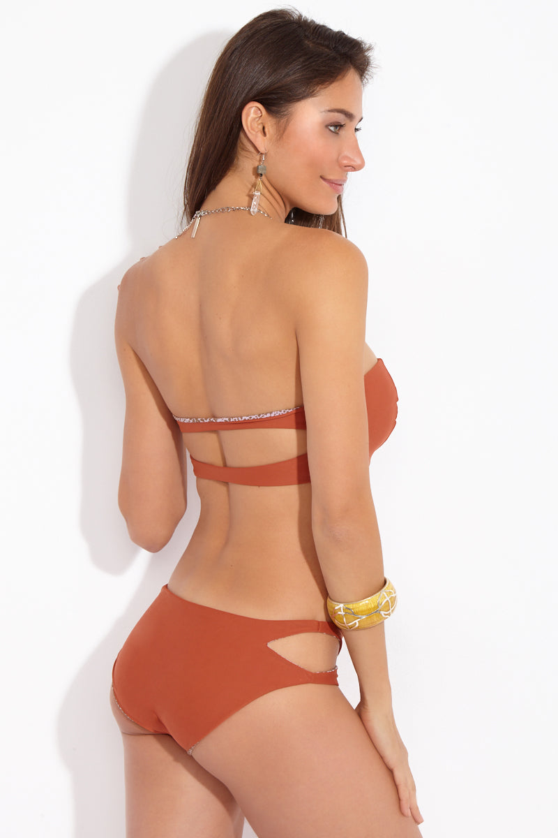Kawa Side Cut Outs Bikini Bottom - Mai Tai Burnt Orange