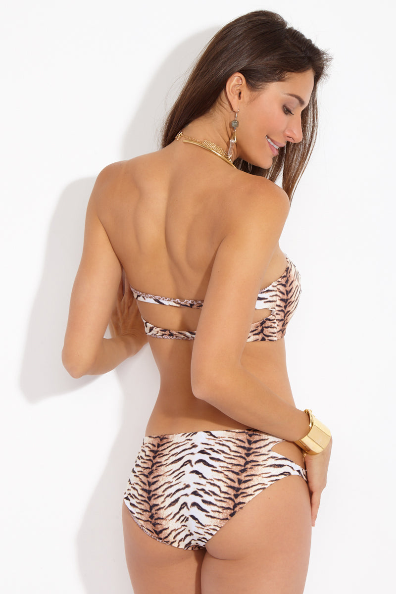 Kawa Side Cut Outs Bikini Bottom - Tiger Animal Print